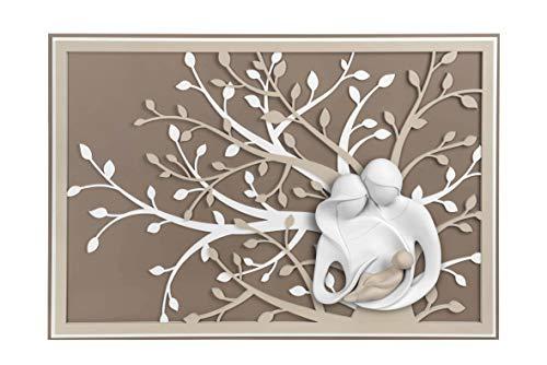MAZZOLA LUCE Quadro capoletto per Camera da Letto Sacra Famiglia 105x72 Moderna capezzale Legno Tortora Albero della Vita Scultura marmorino