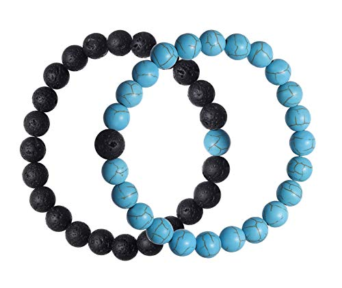 Rinspyre 2 Pieces Long Distance Couples Bracelet His Her Friendship Relationship Lava Rock & Turquoise Beads His and Hers Couple Bracelet