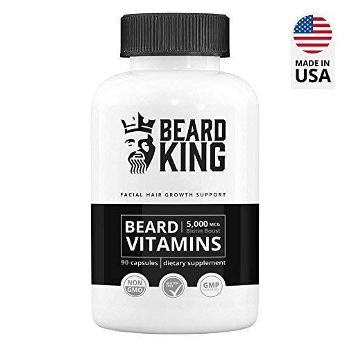 Beard King - Beard Vitamins | Best Facial Hair Growth Supplement - for Thicker, Fuller, Healthy Beard | with Biotin Boost, Vegan, Non-GMO Facial Hair Growth Pills for Men - 90 Capsules