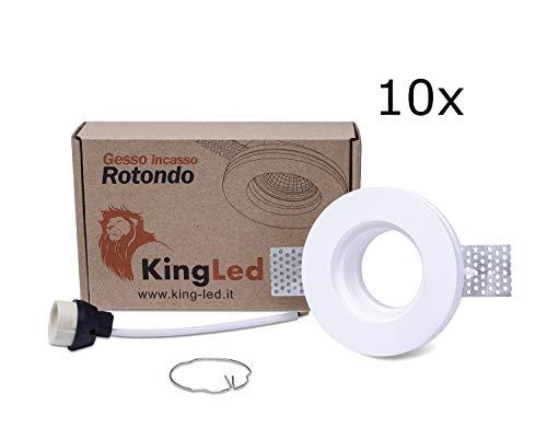 King Led - 10pz Portafaretto Tondo in Gesso CERAMICO da Incasso per GU10 e MR16 per Controsoffitti cod. 0627