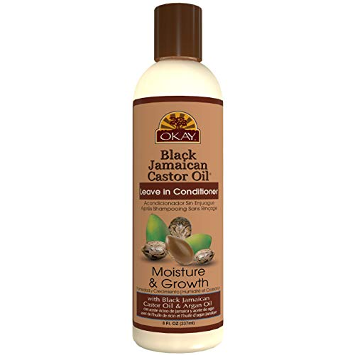OKAY Black Jamaican Castor Oil Moisture Growth Leave In Conditioner Helps Moisturize&Regrow Strong Healthy Hair Sulfate,Silicone,Paraben Free For All Hair Types and Textures Made in USA 8oz