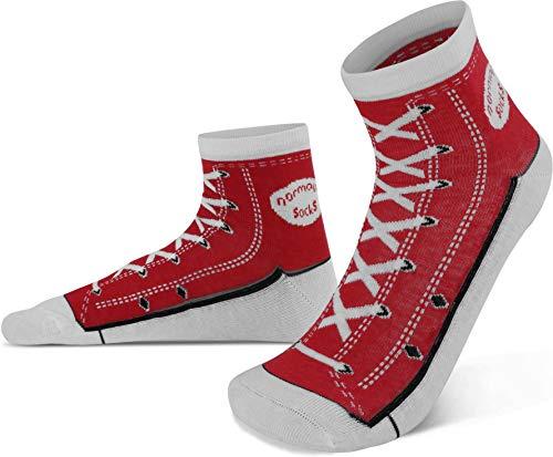 normani 4 Paar Socken im Schuh-Design mit vielen originalgetreuen Details Farbe Rot Größe 39/42