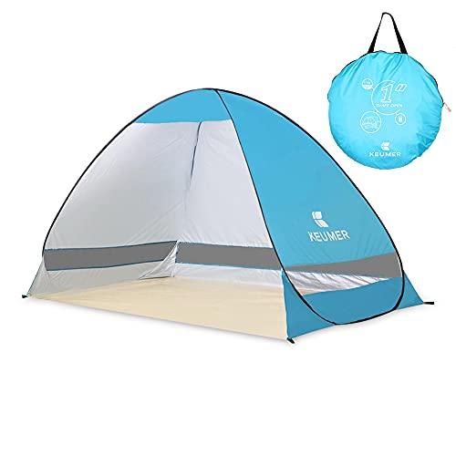 E-More Strandmuschel, Pop up Strandzelt Shelter für 2-3 Personen Portable Beach Zelt, Outdoor Tragbar Wurfzelt UV-Schutz, Strand Muschel Zelt für Familie trand Garten Camping