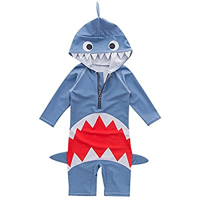 Children One Piece Shark Swimsuits Boys Rash Guard Hoodie Swimwear UV Protection 2-7 Years?3T? Navy Blue