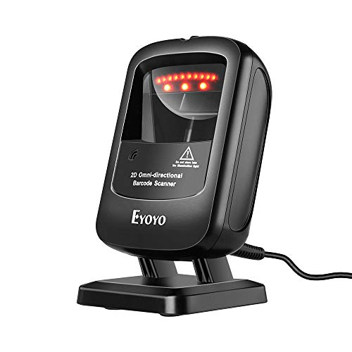 Eyoyo 1D 2D Desktop Barcode Scanner, Omnidirectional Hands-Free USB Wired Barcode Reader, Capture Barcodes from Mobile Phone Screen, Automatic Image Sensing for Supermarket Library Retail Store barcode Eyoyo scanner