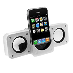 White Portable Foldable Speakers for Mp3 Players - Travel Size Folding Foldable Stereo Speaker for Apple iPhone 3G 3GS,itouch, iPod,iPod Touch, iPod (Video), iPod Nano, iPod Photo, iPod Mini