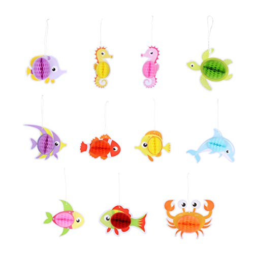 GARNECK 11Pcs Ocean Sea Animal Honeycomb Hanging Decor Sea Creature Pom Pom Pendant for Laua Ocean Theme Birthday Party Supplies (Assorted Color)