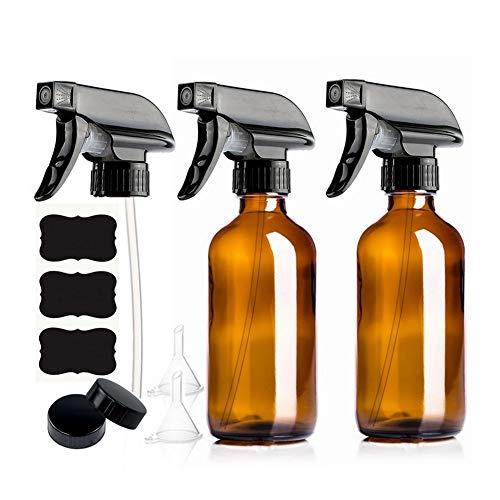 XIAOFANG 2er-Pack 250ml leeren Braunglas Sprühflasche mit Trigger-Sprayer & Tafel Etiketten for Ätherische Öle Washmittel 8 Oz (Material : Amber, Specifications : 250ml)