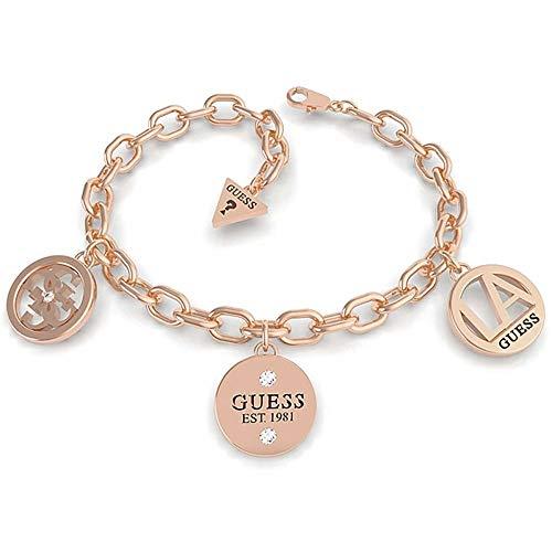 Raten Sie Armband L.A. UBB79052-S Edelstahl. Roségold plattiert drei Anhänger Swarovski-Kristallen Logo