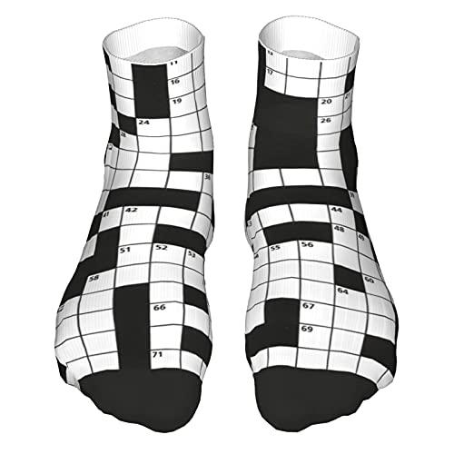 Novelty Compression Socks for Men Women, Black White Durable Running Sport Boat Sock, Moisturizing Wicking Short Socks, Crossword Puzzle Pattern