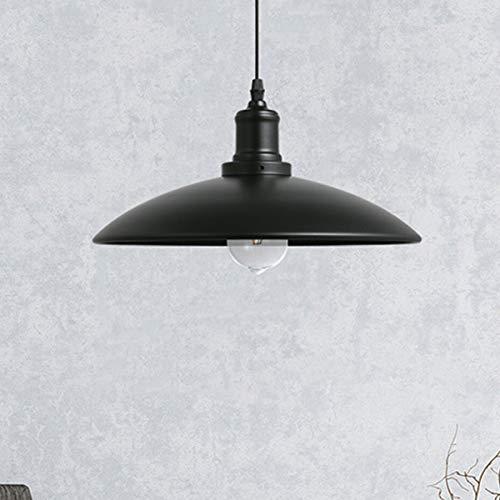 Luce Plafoniera Luces colgantes de la tapa del hierro labrado de la vendimia Luces colgantes del techo industrial negro/blanco Luz colgante retra del desván (Color : Black)
