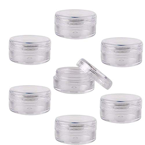 Lot de 50 récipients de cosmétique rechargeables en plastique transparent avec un couvercle à visser sans BPA - 5 g / 5 ml - KKMore