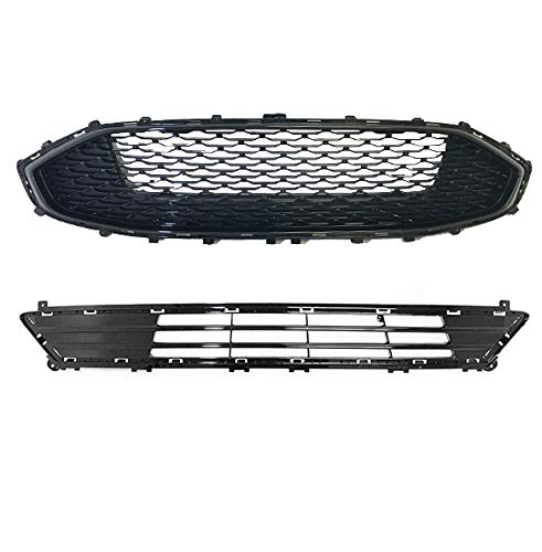 For 2019 2020 Ford Fusion | Front Upper And Lower Bumper Grille Replacement | Honeycomb Mesh Glossy Black ABS | by AutoModed