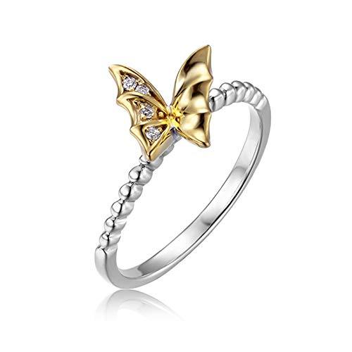 AueDsa Anillo Oro y Oro Blanco Anillo Mujer 18K Oro + 18K Oro Blanco Mariposa Diamante Blanco 0.026ct Anillo Talla 13,5