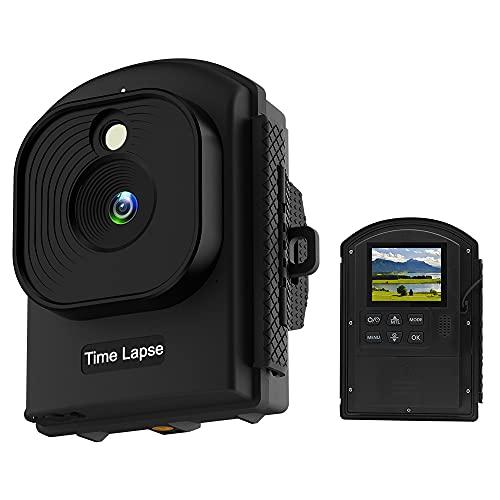 COCOCAM 1080P HD Caméra Time Lapse Chantier Caméra Time-Lapse HDR pour l'Enregistrement de Projets Autonomie de 180 Jours Minuteur Quotidien Écran LCD 2.4' Angle d'Objectif de 120°Étanchéité IP66