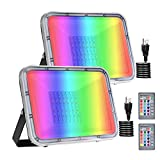 Bikuer 2 Pack 50W RGB LED Flood Lights with Remote Control, IP67 Waterproof Dimmable Color Changing Floodlight, Wall Washer Light, Outdoor Indoor Decorative Landscape Garden Light (50W with Plug)