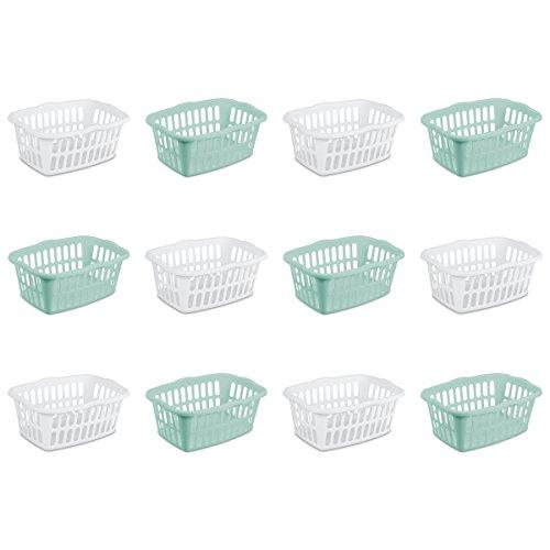 Sterilite 12459412 1.5 Bushel/53 Liter Rectangular Laundry Basket, White & Aqua Chrome, Assorted,...
