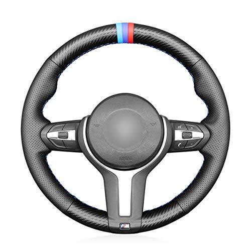 MEWANT Genähter Lenkradbezug für BMW F87 M2 2015-2017 F80 M3 2014-2017 F82 M4 M5 F12 F13 M6 F85 X2 X5 M F86 X6 M F33 F30 M Sport Zubehör für Leder/Lenkräder. Für BMW.