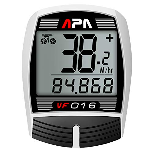 DREAM SPORT Bike Computer Bicycle Speedometer and Odometer 16-Function Wired Bike Computer Waterproof DCY016 White