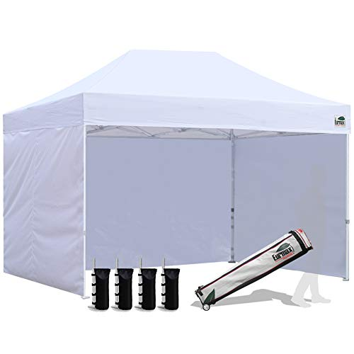 Eurmax 8x12 Ez Pop up 4 Wall Canopy Instant Outdoor Party Tent Shade Gazebo+4 Sidew Walls and Roller Bag, Bonus 4 SandBags, (White)