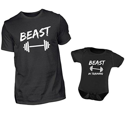 Vater Baby Tshirt Strampler Partnerlook Mit Lustigen Bodybuilding Spruch Beast Und Beast In Training Eltern Kind Fitness Partner Look In Schwarz Für Herren Bis 4XL (3XL & 12-18 Monate)