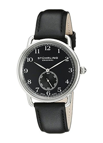 Stuhrling Original Men's 207.02 Classic Cuvette Swiss Quartz Black Leather Strap Watch