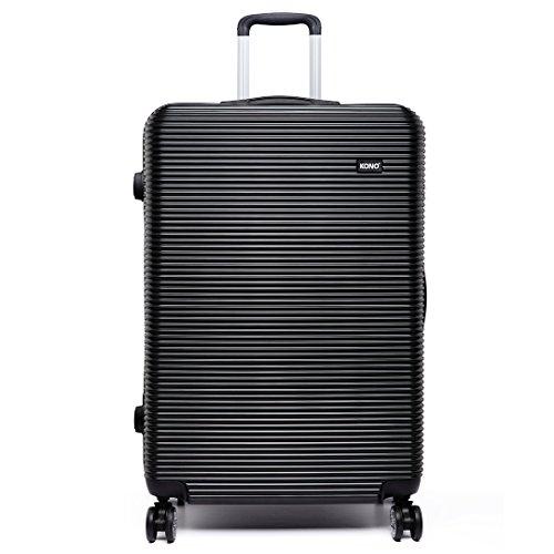 Kono Hard Shell PC bagage lichtgewicht 4 wielen spinner grote capaciteit 28 inch koffer (zwart)