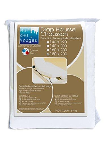 Nuit des Vosges 2094343 Cotoval Drap Housse TPR Uni Coton Blanc 180 x 200 cm