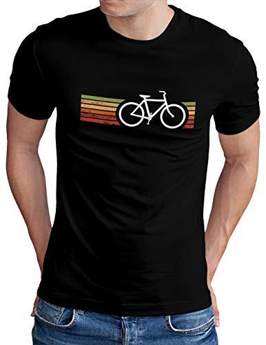 OM3® Retro Bicycle T-Shirt | Herren | Cycling Cyclist Biking Fahrrad Radfahrer | Schwarz, 4XL