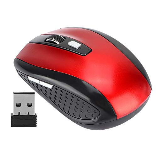 Richer-R USB Wireless Optical Mouse,Ergonomic Optical Positioning Mouse,6D Ultra-Thin 2.4G 1200DPI for Laptop,Computer,Gaming, up to 10 Meters Control Distance(Red)