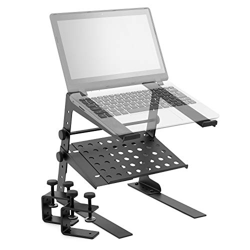 Tiger Laptop Stand with Shelf - Adjustable DJ Stand, Black, LEC18