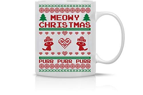 Meowy Christmas Purr Merry Christmas Funny Cat Mug Taza de café de 11 oz Tazas navideñas Taza linda de Navidad Taza divertida de Navidad Regalo perfecto para las fiestas por AW Fashions