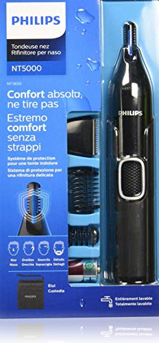 Philips Serie 5000 NT5650/16 Naricero tecnología PrecisionTrim,protección de la piel,accesorio barba,accesorio cortapatillas,cepillo para limpieza del dispositivo,2 peines,funda y pila incluída