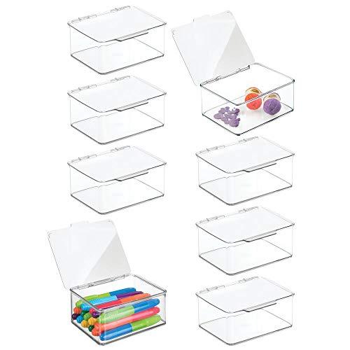 mDesign Juego de 8 Cajas organizadoras para Accesorios de Costura o Manualidades – Pequeño Organizador de plástico con Tapa – Costurero apilable para Lanas, Abalorios o Cintas – Transparente