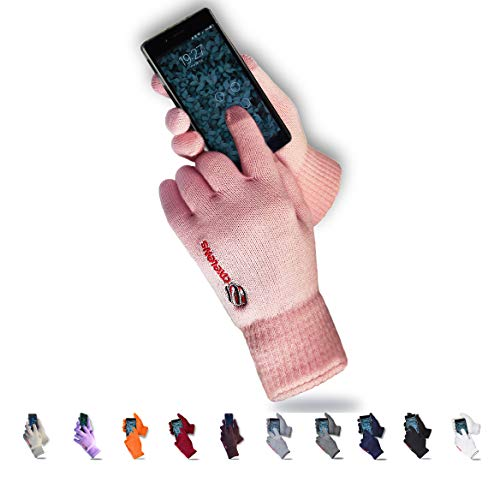 axelens Guantes Touch Screen Táctiles Invernales Calientes Cómodos Interior de Felpa, para Smartphones Celulares Teléfonos Móviles y Tablets, Mujer Niña Chica - Confección Regalo Incluida - Rosa