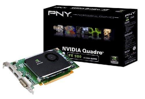 PNY NVIDIA Quadro FX 580 Grafikkarte (PCI-e, 512MB, GDDR3 Speicher, DVI, HDTV) Bulk