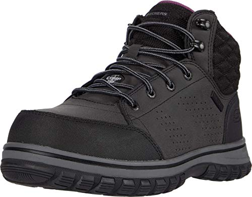 Skechers Women's Padded Collar Safety Boot Industrial Shoe, Black, 7.5