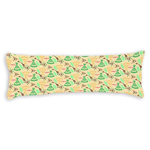 CICIDI Funda de cojín de lado 40 x 145 cm, textura floral, transpirable, con cremallera, algodón y poliéster, funda de almohada de cuerpo largo