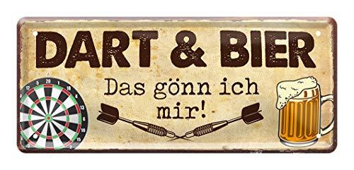 Dart und Bier das gönn ich mir - Dart Dekoration Schild - Dekoblechschild für Dartspieler - schöne Deko für Dart Scheibe - Dart Zubehör - Dart Spruch - Geschenkidee für Dart Fans - 28x12cm