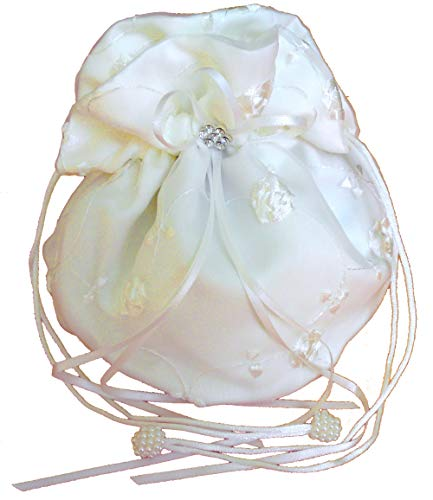 LadyMYP© Brautbeutel, Brauthandtasche mit gestickten Blumenranken, Hochzeit, Kommunion, weiß/Ivory (hellcreme, Elfenbein) ca. 16 * 20 cm (Ivory(Hellcreme))