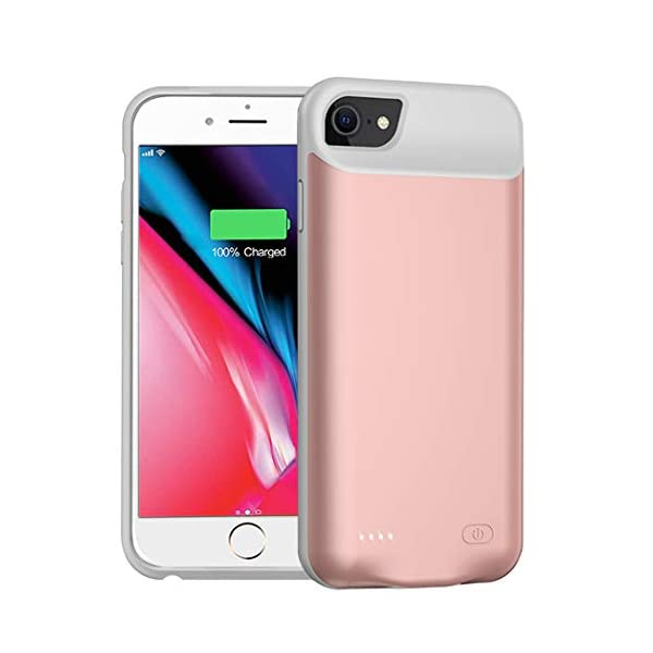 Battery Case For Iphone 7866sse 20202nd Generation 6000mah Portable Protective Charging Case Compatible With Iphone Se 20208766s 47 Inch Extended Battery Charger Case Rose Gold
