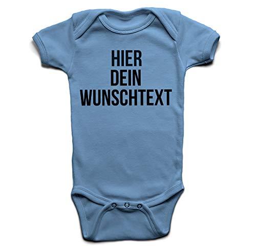Baby Body mit Wunschtext - Selber gestalten mit dem Amazon Designertool - Tshirt Druck - Shirt Designer Babybody Strampler Dustyblue 0-3 Monate