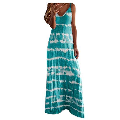 WoCoo Women Plus Size Dress Summer Beach Maxi Dress V Neck Fashion Tropical Print Long Dress Sundress Boho Backless Dress(F-Sky Blue,X-Large)