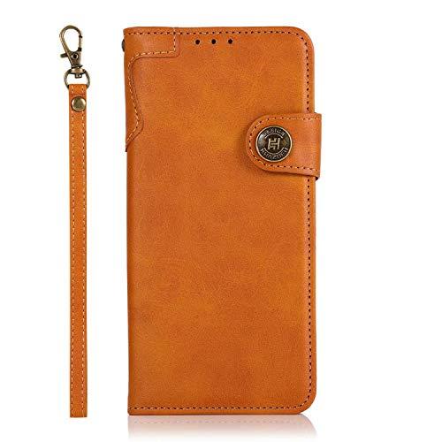 FullProtecter Handykette kompatibel mit Nokia 5.3 Handyhülle,Lederhülle Klappbar, stoßfest Flipcase,Brieftasche für Nokia 5.3,Braun