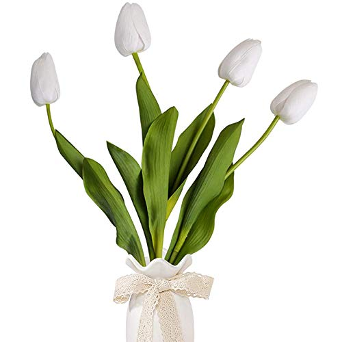 4 piezas Flores Artificiales, Kalolary Tulipán Blanco Falso Tallo Largo Flores Seda Flor Tacto Real Flores Imitación Ramos Hechos a Mano Para La Habitación Decoración Hogar Decoración Banquete Boda