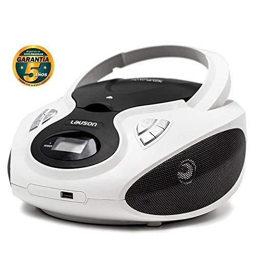 Lauson CP630 Radio FM y Reproductor de CD Portátil con USB | Radio FM | USB y Mp3 | CD Player Bluetooth con Salida para Auriculares 3.5mm (Blanco)