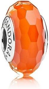 Pandora Charm Plata de ley, cristal de Murano Color Naranja