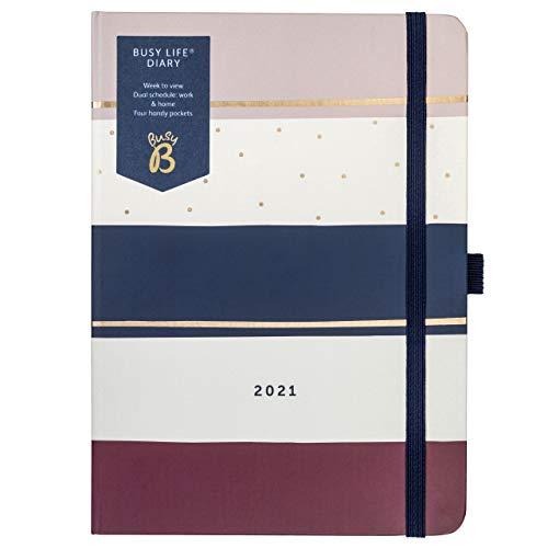 Busy B - Agenda Busy Life da gennaio a dicembre 2021 - Diario settimanale A5 motivo a striscia blu marino, con doppia spaziatura, portapenne e tasche, Versione Inglese