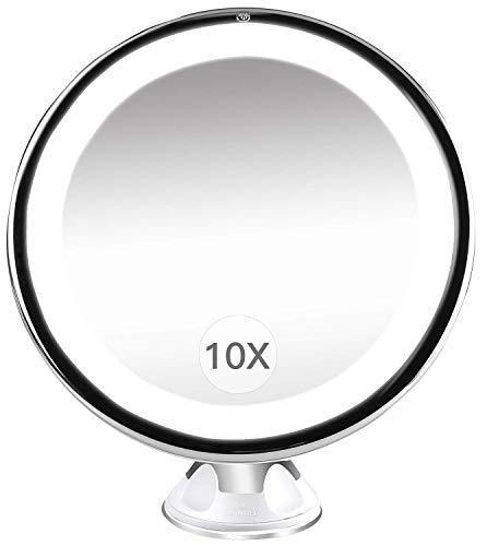Rain - Espejo de maquillaje con 10 aumentos, luz con USB, recargable, giratorio 360 grados, inoxidable, con ventosa