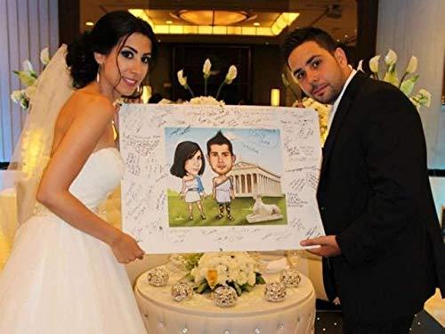 Custom Wedding Couple Customized Caricature Drawing Photo